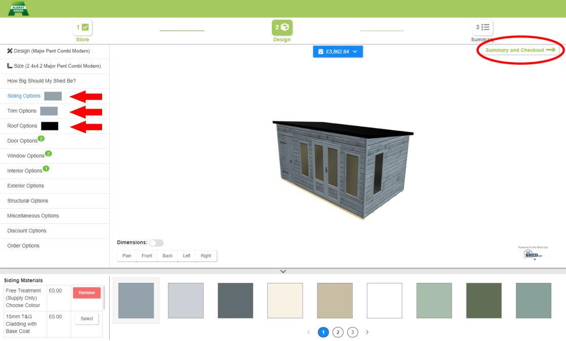 Configuring your shed on 3D Shed Designer